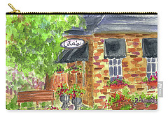Carry-all Pouch featuring the painting Lila's Cafe by Cathie Richardson