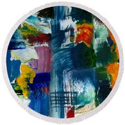 Abstract Color Relationships L Round Beach Towel by Michelle Calkins
