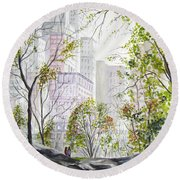 Central Park Stroll Round Beach Towel