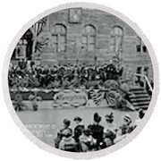 Commencement Georgetown University Round Beach Towel by Fred Schutz Collection