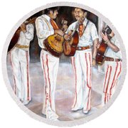 Round Beach Towel featuring the painting Mariachi  Musicians by Carole Spandau