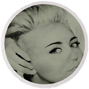 Round Beach Towel featuring the drawing Miley Cyrus  by Brian Reaves