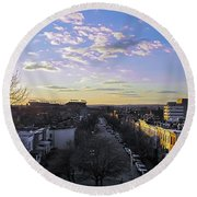 Round Beach Towel featuring the photograph Sunset Row Homes by Brian Wallace