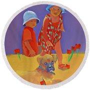 The Boxer Puppy Round Beach Towel