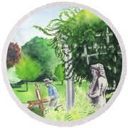 Round Beach Towel featuring the painting the garden at the wellers carriage house in Saline  Michigan 1 by Yoshiko Mishina