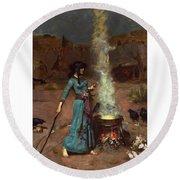 The Magic Circle Round Beach Towel by John William Waterhouse