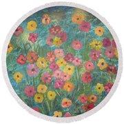 A Field Of Flowers Round Beach Towel by John Keaton