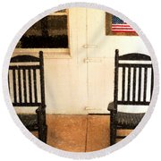 American Porch Round Beach Towel by Desiree Paquette
