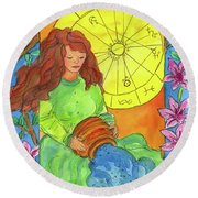 Round Beach Towel featuring the painting Aquarius by Cathie Richardson