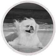 Round Beach Towel featuring the photograph Beachbum Black And White by Ania M Milo
