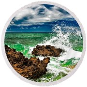 Blue Meets Green Round Beach Towel