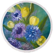Bonnie Bouquet Round Beach Towel