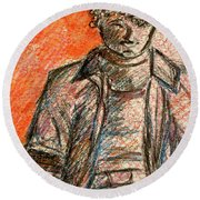 Round Beach Towel featuring the painting Boy In Red by Cathie Richardson
