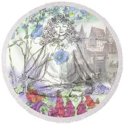 Round Beach Towel featuring the painting Celestial Castle by Cathie Richardson