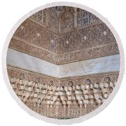 Round Beach Towel featuring the photograph Colorful Carved Corner by Lorraine Devon Wilke