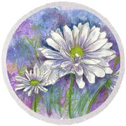 Round Beach Towel featuring the painting Daisy Three by Cathie Richardson