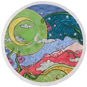 Daydreaming Round Beach Towel by Tanielle Childers