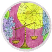 Round Beach Towel featuring the painting Libra by Cathie Richardson