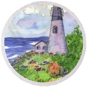 Round Beach Towel featuring the painting Lighthouse In Summer  by Cathie Richardson