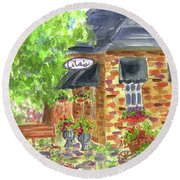 Round Beach Towel featuring the painting Lila's Cafe by Cathie Richardson