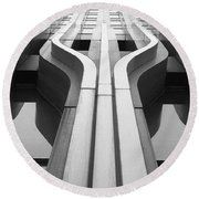Look Up A Twin Tower Round Beach Towel by Darcy Michaelchuk