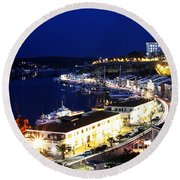Round Beach Towel featuring the photograph Mahon Harbour At Night by Pedro Cardona