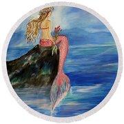 Mermaid Wishes Round Beach Towel