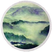 Round Beach Towel featuring the painting Mountain Oriental Style by Yoshiko Mishina