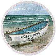 Ocean City Lifeguard Boat Round Beach Towel