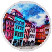 Old Town In Warsaw #11 Round Beach Towel