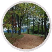 Round Beach Towel featuring the photograph Pathway by Eric Liller