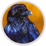 Raven Round Beach Towel by J W Baker