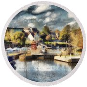 Riverview V Round Beach Towel