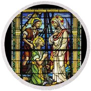 Saints Peter And Andrew With Christ  Round Beach Towel