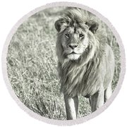 The King Stands Tall Round Beach Towel by Darcy Michaelchuk