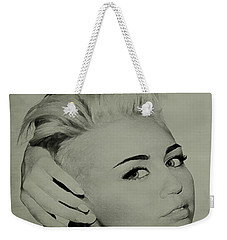 Weekender Tote Bag featuring the drawing Miley Cyrus  by Brian Reaves