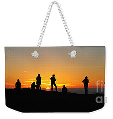 Weekender Tote Bag featuring the photograph Panorama Everyone Likes A Sunset by Vivian Christopher