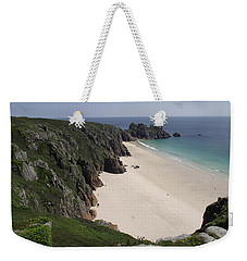 Weekender Tote Bag featuring the photograph Porthcurno Cove by Jayne Wilson