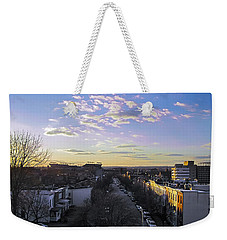 Weekender Tote Bag featuring the photograph Sunset Row Homes by Brian Wallace