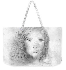 Weekender Tote Bag featuring the drawing Something About Mary by Laurie L