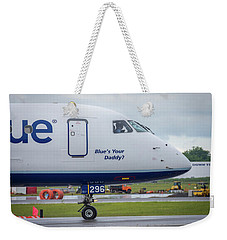 Weekender Tote Bag featuring the photograph Blue's Your Daddy? by Guy Whiteley
