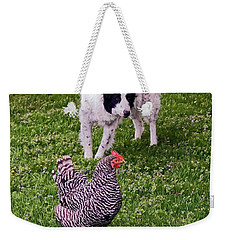 Border Collie Herding Chicken Weekender Tote Bag
