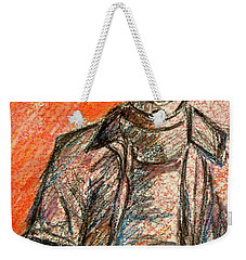 Weekender Tote Bag featuring the painting Boy In Red by Cathie Richardson