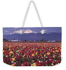 Field Of Tulips And Mount Baker Weekender Tote Bag