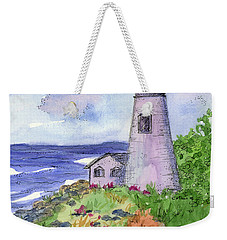 Weekender Tote Bag featuring the painting Lighthouse In Summer  by Cathie Richardson