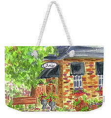 Weekender Tote Bag featuring the painting Lila's Cafe by Cathie Richardson