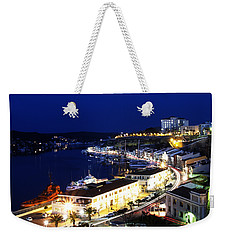 Weekender Tote Bag featuring the photograph Mahon Harbour At Night by Pedro Cardona