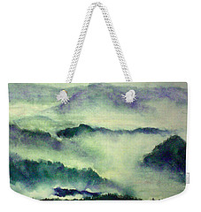 Weekender Tote Bag featuring the painting Mountain Oriental Style by Yoshiko Mishina