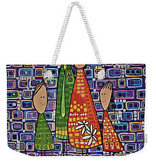 Weekender Tote Bag featuring the painting One Of Each by Donna Howard