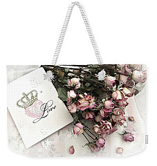 Weekender Tote Bag featuring the photograph Romantic Pink Roses With Love Book - Shabby Chic Romantic Roses Love Books Decor Still Life  by Kathy Fornal